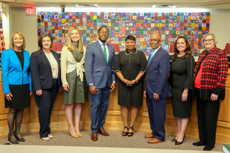 This photo captures the current school board members and superintendent Dr. Diana Greene