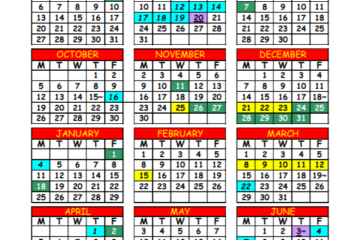 Screenshot of the 2020-21 updated school calendar