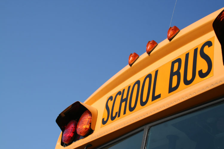 Stock photo of the top front of a school bus