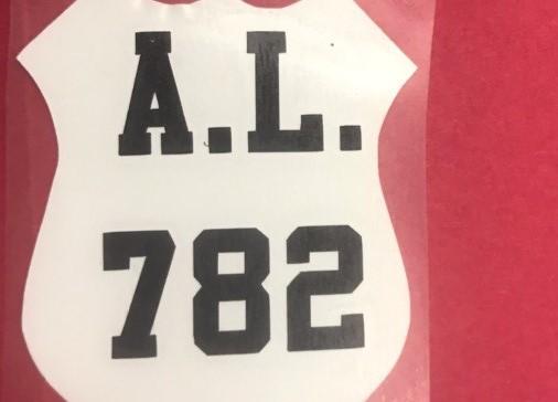 "Close up of the Fletcher helmet. It reads ""A.L. 782"""
