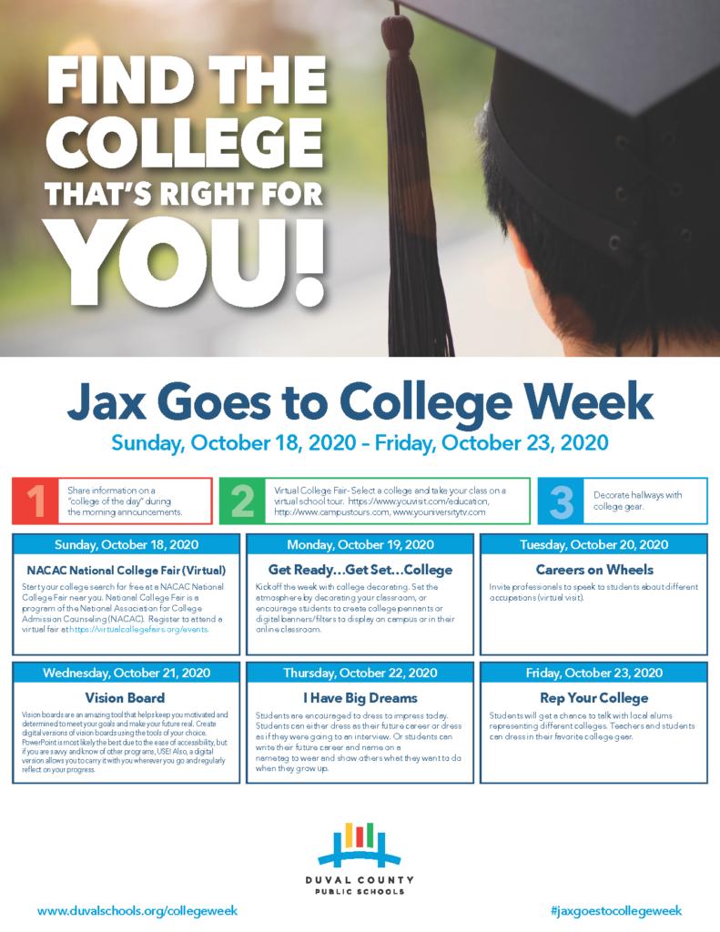 National Virtual College Fair, Jax Goes to College Week begins Oct. 18