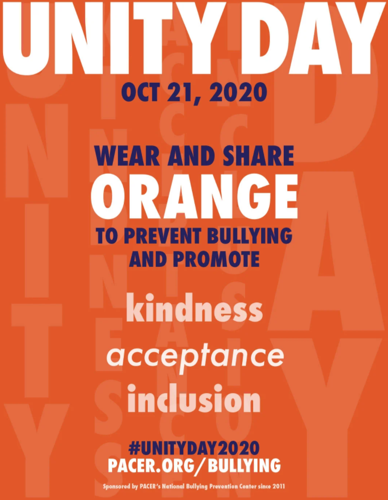 Unity Day - Oct. 21, 2020. Wear and share orange to prevent bullying