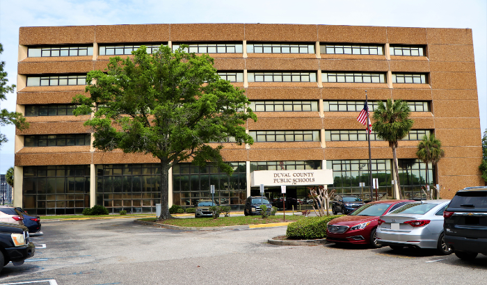 A wide shot of the district building