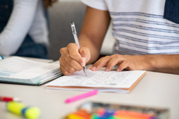 Stock photo of student taking test